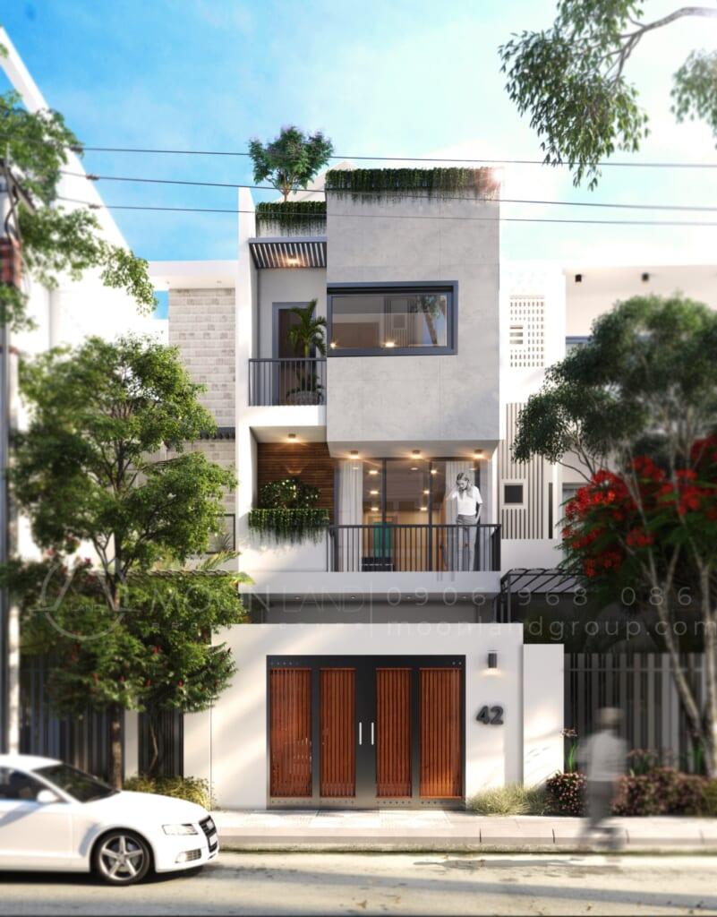 Mặt tiền dự án nhà phố phong cách Minimalist Quận 9